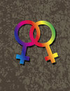 Female lesbian gender symbols interlocking illustr on grunge texture background illustration Stock Photos