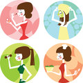 Female lifestyle set of vector picures illustrated young girls Royalty Free Stock Photos