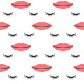 Female lips and closed eyes with long eyelashes. Seamless pattern. Royalty Free Stock Photo