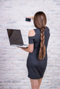 Female long-haired  manager with notebook making selfie by smart Royalty Free Stock Photo