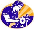 Female Machinist Seamstress Worker Sewing Machine Stock Photo