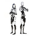 Female and male cyber robot posing on a white background Stock Photography