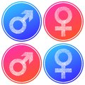 Female and male symbol fingerprint white silhouette circular icon. Blue and pink gradient color design