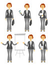 Female manager character or business woman set. Different poses isolated on white background. Woman in trousers. Cartoon Royalty Free Stock Photo