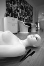 Female mannequi mannequin on the floor near two combs Royalty Free Stock Image