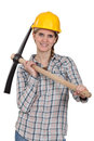 Female manual worker with axe Royalty Free Stock Photo