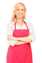 A female manual worker wearing an apron and posing Royalty Free Stock Image
