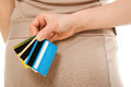 Female  with many different credit cards Royalty Free Stock Photo