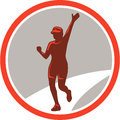 Female marathon runner running circle retro illustration of triathlete winning finishing race set inside on isolated background Stock Images