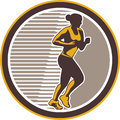Female marathon runner side view retro illustration of triathlete running winning finishing race set inside circle on isolated Stock Photography