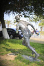 The female marathon runner statue of athlete at edge of track amoy city china Stock Photo
