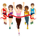 Female marathon winner runner winning a against other active competitors touching red finish line Stock Photos