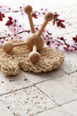Female massage and exfoliation with feng shui spa beauty concept cherry flower blossoms background for tools on pure mineral Stock Image