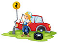 A female mechanic fixing the red broken car illustration of on white background Stock Photos