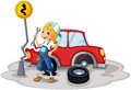 A female mechanic near the car accident illustration of on white background Royalty Free Stock Image
