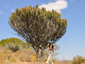 Female model in african landscape Stock Photo