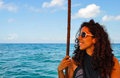 Female model happy girl on a boat Royalty Free Stock Photo