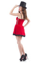 Female model posing in red mini dress isolated on stock photography concept for usage Stock Photography