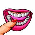 Female mouth close up lips, tongue, teeth