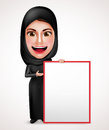 Female muslim arab holding and presenting an empty white board