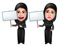 Female muslim arab vector characters holding white empty placard sign