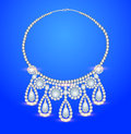 Female necklace with pearls on a blue background illustration Royalty Free Stock Photos