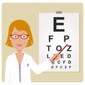 Female ophthalmologist a examining a patient using the eye chart Stock Photo