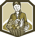 Female organic farmer crop harvest woodcut illustration of gardener horticulturist with basket full of fruits and vegetables set Stock Images