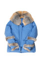Female padded coat with genuine fur blue Stock Images