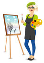 Female painter artist holding palette and brush Royalty Free Stock Photo