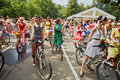 Female participants of cycle parade lady on bicycle moscow aug at sokolniki park august moscow russia main goal this event is Royalty Free Stock Photo