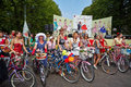 Female participants of cycle parade lady on bicycle moscow aug at sokolniki park august moscow russia is only for women Stock Photo