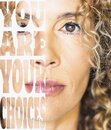 Female people and choices concept with half portrait of woman face and words written on other white side - beautiful adult lady Royalty Free Stock Photo