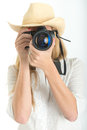 Female photographer with hat beautiful shooting Stock Images