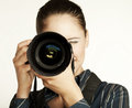 Female photographer with her digital camera Royalty Free Stock Image