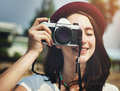 Female Photographer Smiling Vintage Camera Concept Royalty Free Stock Photo