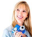 Female photographer with snapshot camera Stock Photo
