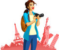 Female photographer travel icons colorful illustration or cartoon of a or tourist with symbols of internationally famous landmarks Royalty Free Stock Photos