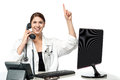 Female physician answering phone call excited cheerful the Stock Photo