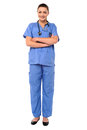 Female physician posing with confidence full length image of young confident lady doctor Stock Photos