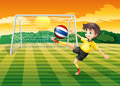 A female player kicking the ball from thailand illustration of Royalty Free Stock Photos