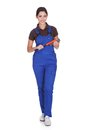 Female Plumber With A Wrench Royalty Free Stock Photo