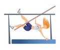 Female Pole vaulting. Woman vaulter, sportswoman. Vector illustration, isolated on white.
