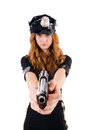 Female police office isolated on the white Stock Photography
