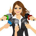 Female politician or businesswoman answering press questions