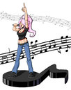 Female pop music singer illustration of she is singing on a huge note notes on white background Stock Photo