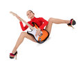 Female posing with guitar over white Royalty Free Stock Photo