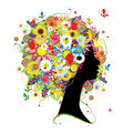 Female profile, floral hairstyle for your design Stock Photos