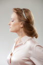 Female profile hairstyle of modern business woman Stock Photo