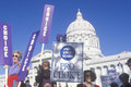 Female protesters holding signs during pro choice rally at state capitol building missouri Stock Photo